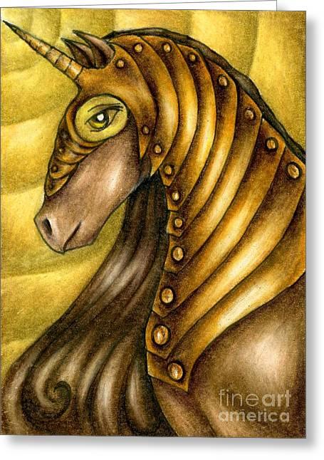 Golden Unicorn Warrior Art Greeting Card