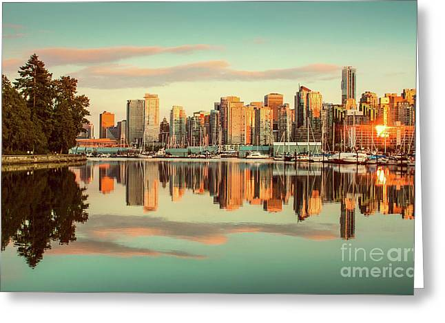 Golden Vancouver Greeting Card by JR Photography