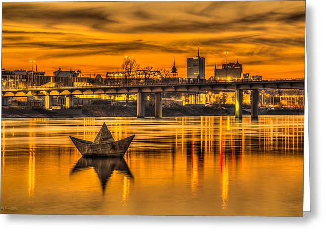 Greeting Card featuring the photograph Golden Vistula by Julis Simo