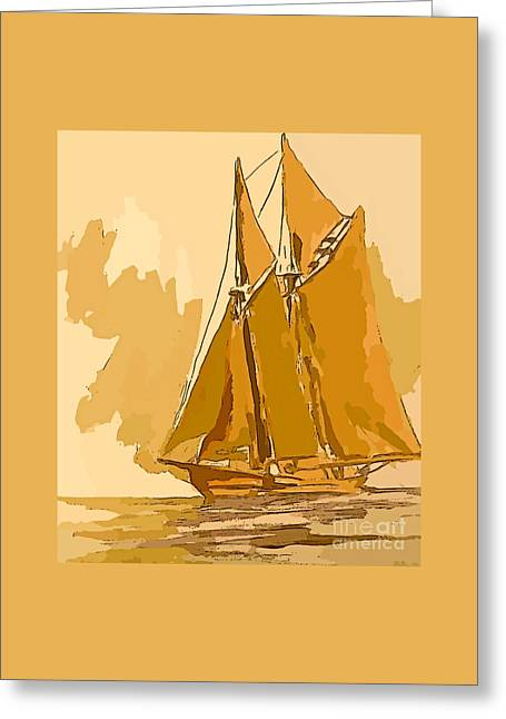 Golden Voyage Greeting Card by John Malone