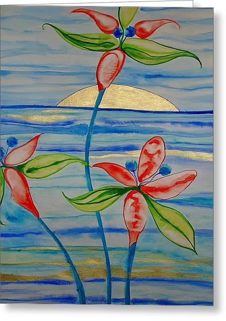 Greeting Card featuring the painting Golden Waikiki Sunset by Erika Swartzkopf
