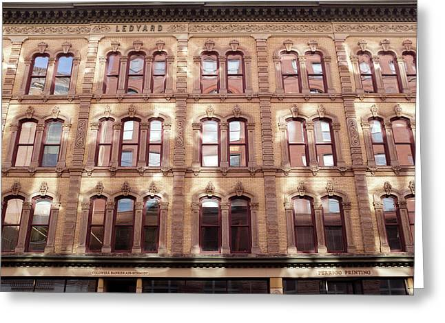 Golden Wall Of Windows And Architecture Light In Grand Rapids Michigan Greeting Card