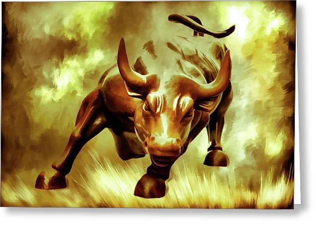 Wallstreet greeting cards page 5 of 5 fine art america golden wall street bull taking charge greeting card m4hsunfo