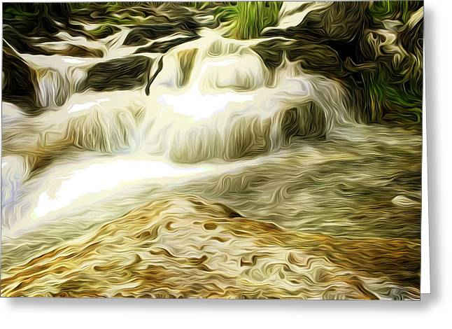 Golden Waterfall Greeting Card