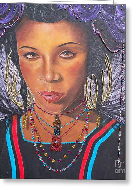 Gracious Golden Wodaabe Girl           From The Attitude Girls  Greeting Card