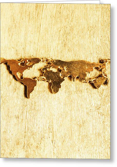Golden World Continents Greeting Card by Jorgo Photography - Wall Art Gallery