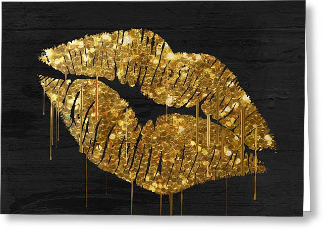 Gold Lipstick Greeting Card
