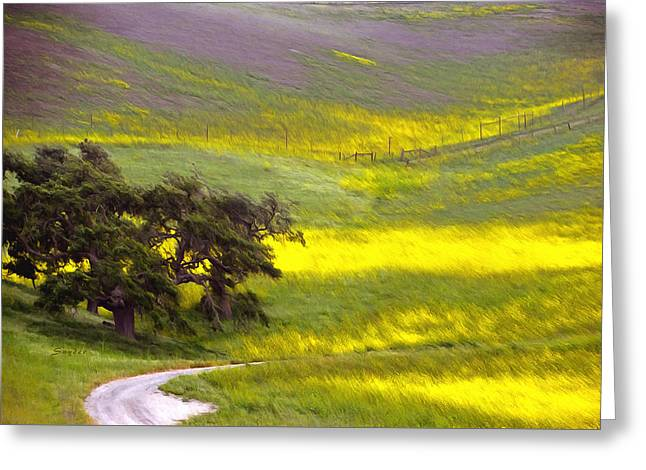 Goldenrod Oak Santa Ynez California 2 Greeting Card by Barbara Snyder