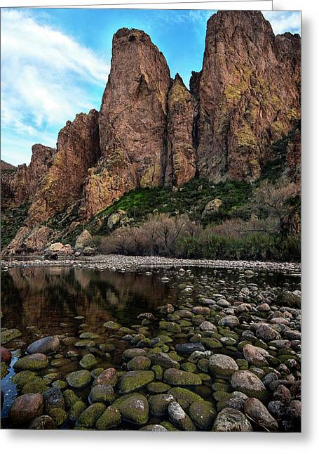 Greeting Card featuring the photograph Goldfield Mountain Mossy Rocks Vertical by Dave Dilli