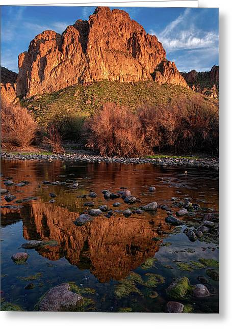Greeting Card featuring the photograph Goldfield Mountain Reflections Vertical by Dave Dilli
