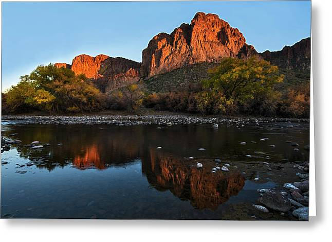 Greeting Card featuring the photograph Goldfield Mountains On The Salt River by Dave Dilli