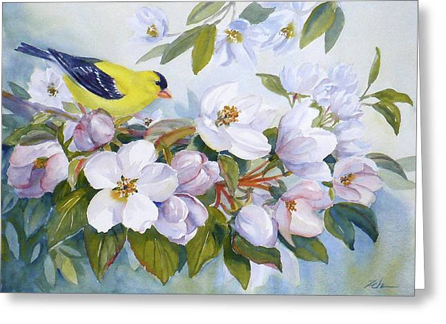 Goldfinch And Crabapple Blossoms Greeting Card by Janet  Zeh