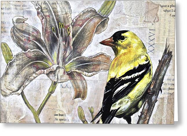 Goldfinch And Lily Greeting Card by Sheri Howe