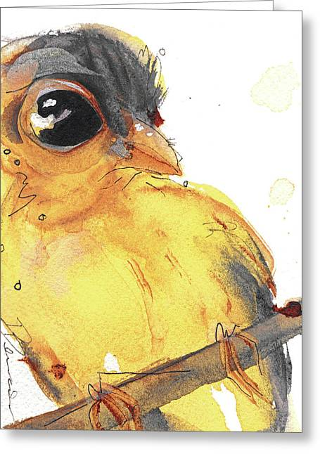 Greeting Card featuring the painting Goldfinch by Dawn Derman