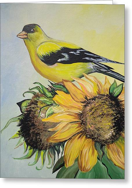 Goldfinch Greeting Card by Leslie Manley