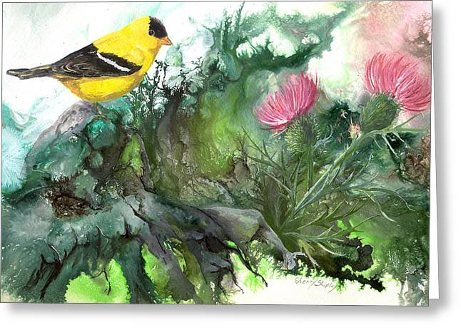Greeting Card featuring the painting Goldfinch by Sherry Shipley