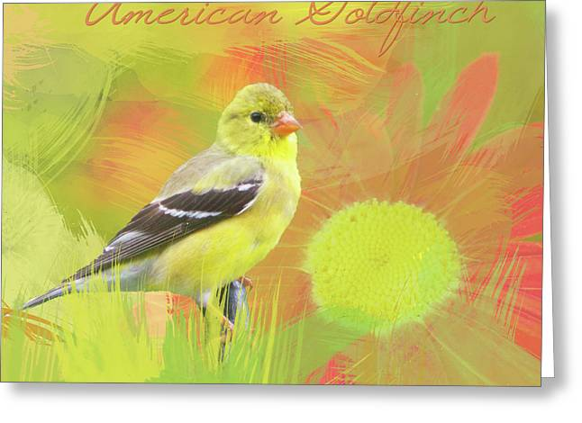 Greeting Card featuring the photograph Goldfinch Watercolor Photo by Heidi Hermes