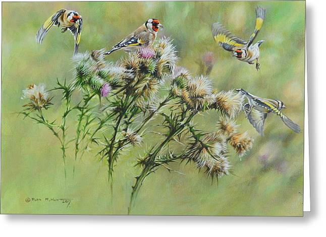 Goldfinches On Thistle Greeting Card