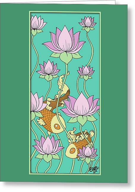Goldfish And Lotus Greeting Card by Eleanor Hofer
