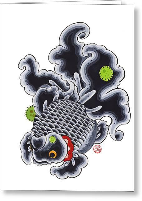 Goldfish Black Greeting Card by Shih Chang Yang