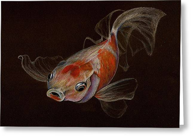 Greeting Card featuring the drawing Goldfish by Heidi Kriel