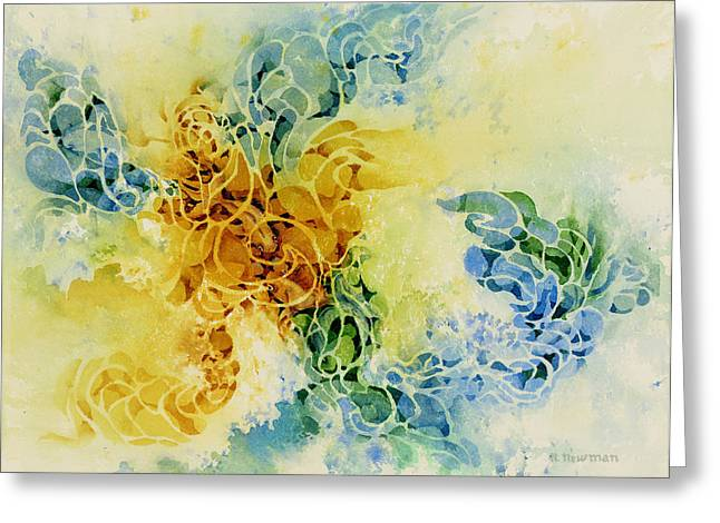 Goldfish-meeting-under-water Greeting Card by Nancy Newman