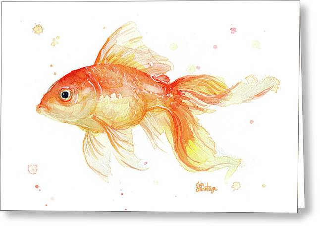 Goldfish Painting Watercolor Greeting Card