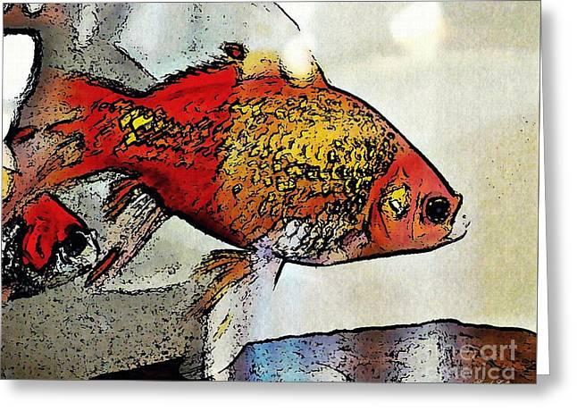 Goldfish Greeting Card by Sarah Loft