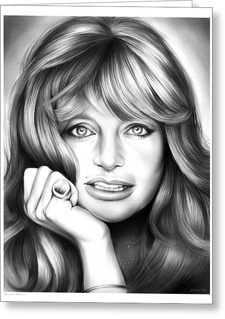 Goldie Hawn Greeting Card by Greg Joens