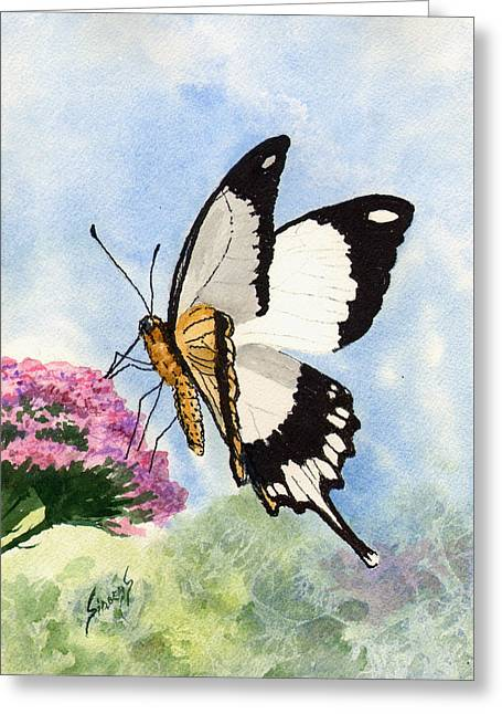 Greeting Card featuring the painting Goldie by Sam Sidders