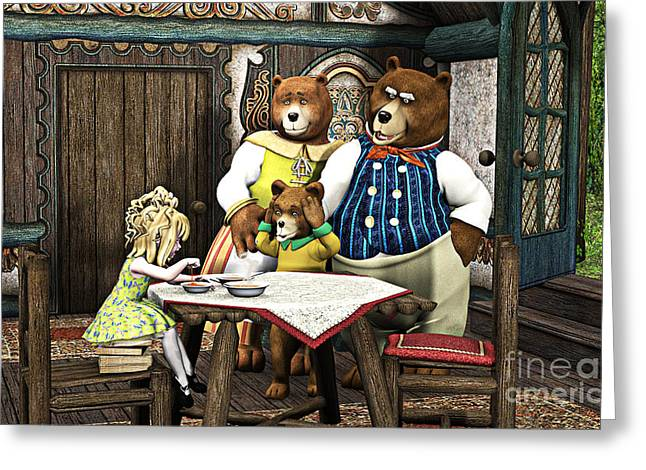 Goldilocks N The 3 Bears Greeting Card by Methune Hively