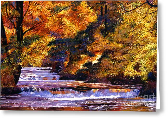 Goldstream River Greeting Card by David Lloyd Glover