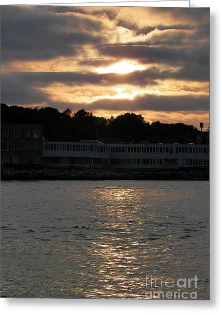 Goledn Sky Of Plymouth 4 Greeting Card by Gina Sullivan