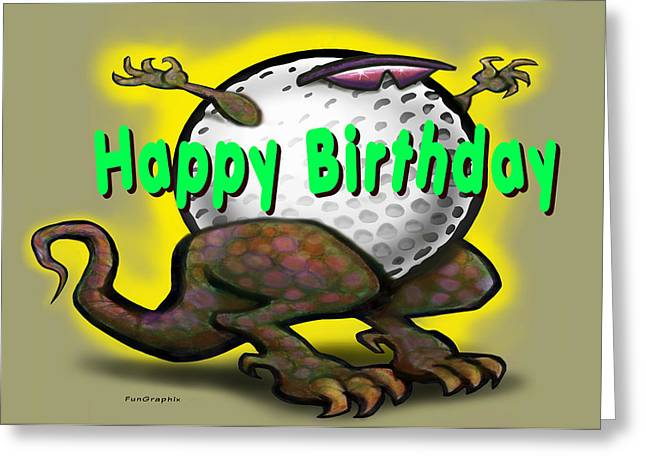 Golf A Saurus Birthday Greeting Card by Kevin Middleton