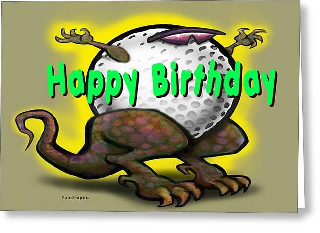 Golf Greeting Cards - Golf a Saurus Birthday Greeting Card by Kevin Middleton