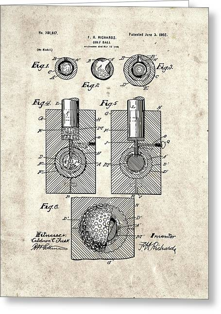 Golf Ball Patent Drawing Vintage 2 Greeting Card