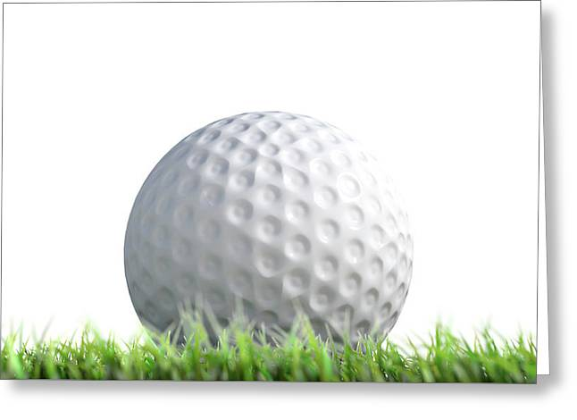 Golf Ball Resting On Grass Greeting Card