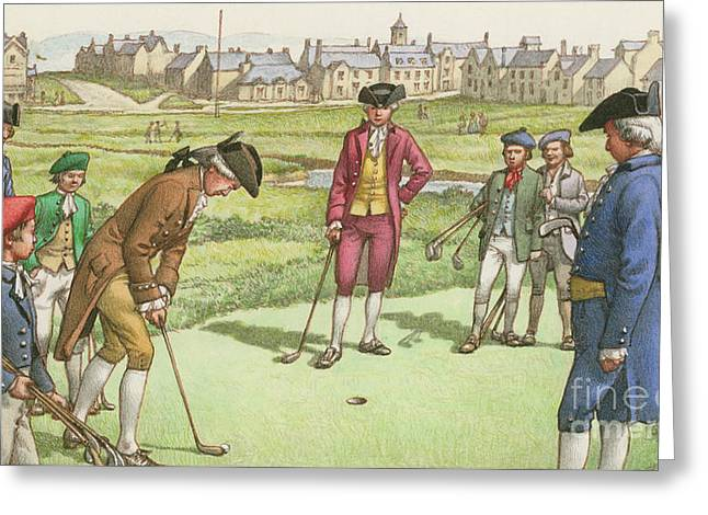 Golf Being Played In St Andrews In The 18th Century Greeting Card