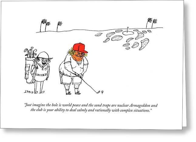 Golf Caddy Instructs Trump Greeting Card