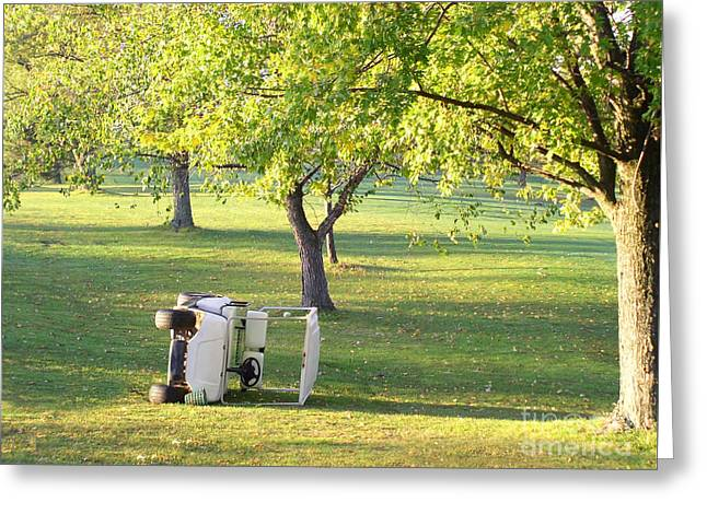Golf Cart Accident Picture Greeting Card by Paul Velgos