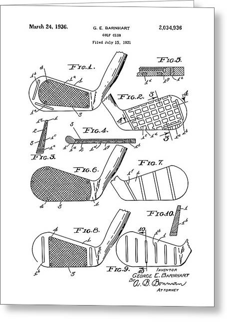 Golf Club Patent Drawing White 3 Greeting Card