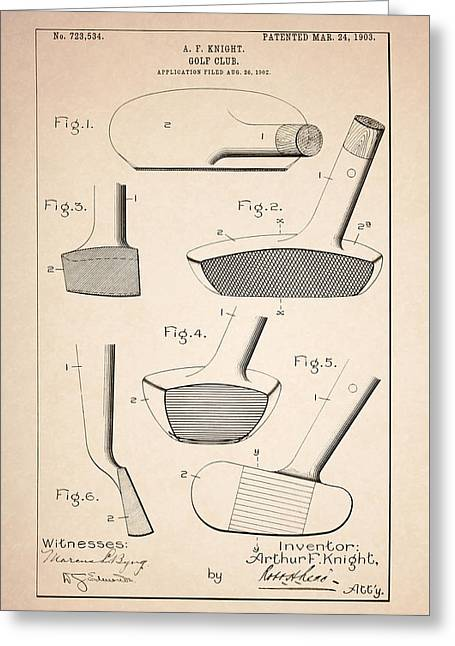 Golf Clubs Patent - Patent Drawing For The 1903 A. F. Knight Golf Clubs Greeting Card by Jose Elias - Sofia Pereira