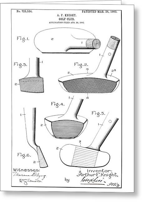 Golf Clubs Patent - Restored Patent Drawing For The 1903 A. F. Knight Golf Clubs Greeting Card by Jose Elias - Sofia Pereira