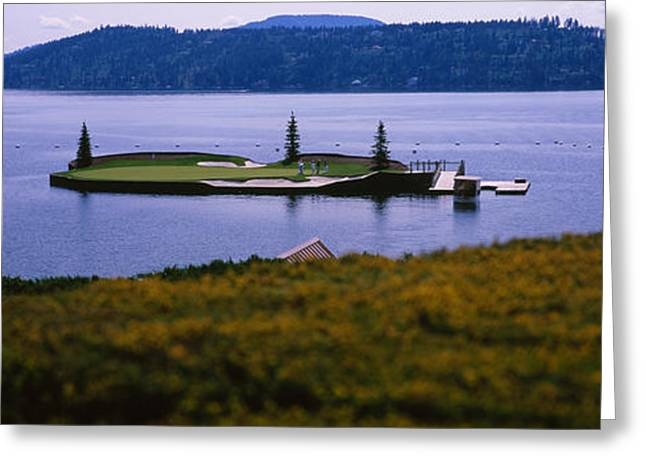 Golf Course In A Lake, Floating Golf Greeting Card