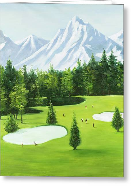 Golf Course With Mountains View Greeting Card