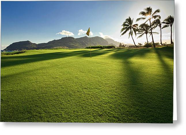 Golf Flag In A Golf Course, Kauai Greeting Card by Panoramic Images