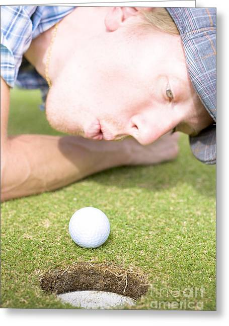 Golf Hole In One Puff Greeting Card