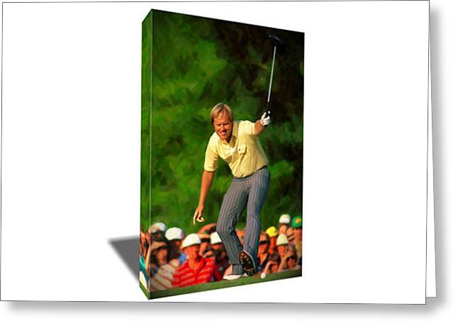 Golf Icon Legend Jack Nicklaus Canvas Art Greeting Card by Artwrench Dotcom