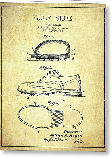 Golf Shoe Patent Drawing From 1931 - Vintage Greeting Card