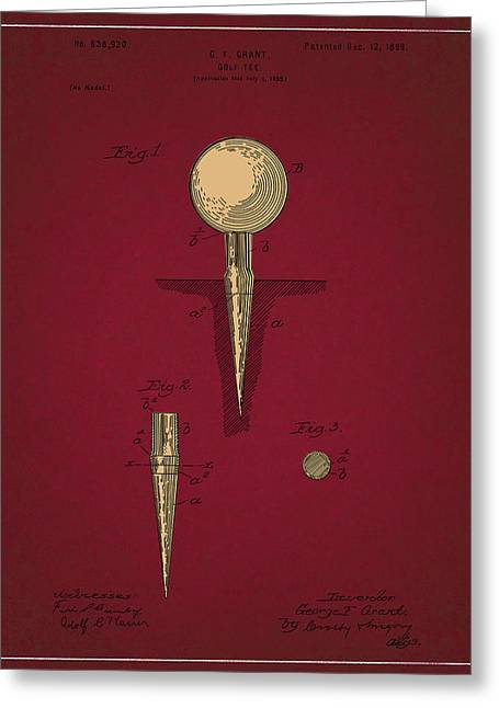 Sick room greeting cards page 2 of 4 fine art america golf tee patent drawing dark red 2 greeting card m4hsunfo